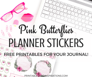 Get these free floral planner stickers with pink butterflies! Free printable planner stickers for your bullet journal. #bujoideas #plannerstickers #freeprintable