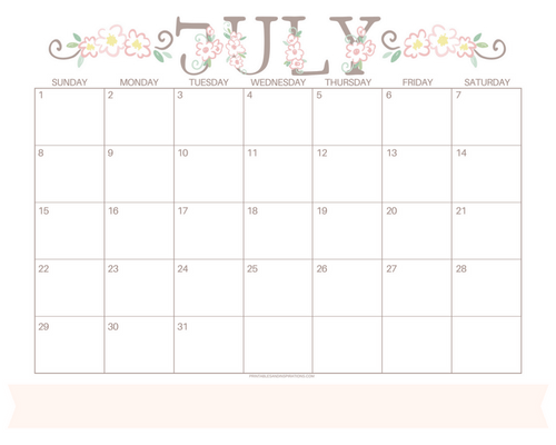 Get your free printable July 2018 monthly calendar here! Choose your favorite July calendar and plan a great month. #freeprintable #printableplanner cute calendar, floral calendar with floral letters