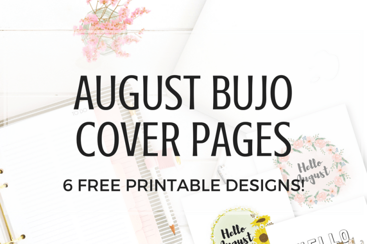 Free printable August bullet journal cover page, August bujo ideas, August bullet journal inspiration, August bujo title page, bullet journal printable