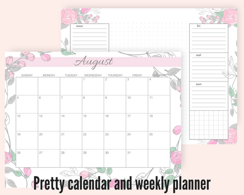 Free August 2018 monthly calendar floral pink, plus free printable weekly or daily planners, and blank calendar templates! #freeprintable #printableplanner