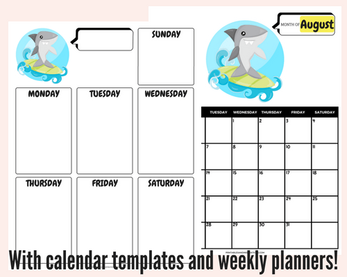 Free August 2018 monthly calendar for kids, plus free printable weekly or daily planners, and blank calendar templates! #freeprintable #printableplanner