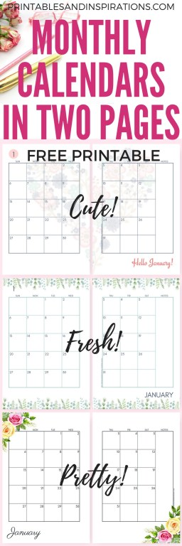 Free 2019 Planner Printable Pdf With Sunday And Monday Calendar Printables And Inspirations