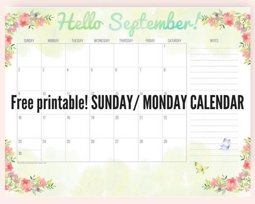 monday to sunday calendar template