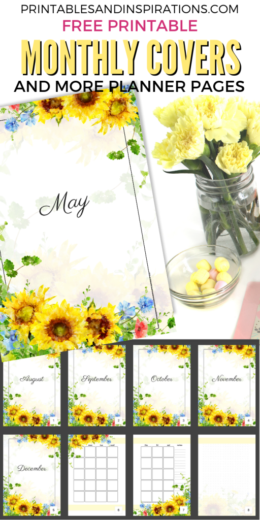 Free Printable PDF Sunflower Planner And Monthly Planner Dividers! Sunflower bullet journal theme with monthly calendar spread, weekly spread and dot grid pages. #freeprintable #printablesandinspirations #sunflowers #bulletjournal #bujomonthly #bujoideas