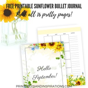 Sunflower bullet journal free printable! Here's my September bullet journal that you can use any month. Bullet journal ideas for your inspiration. #bulletjournal #bujoideas