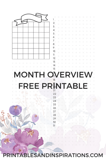 Month Overview Dashboard of my free purple planner printable! Perfect for bullet journal and planner binders. Check all 14 pages!