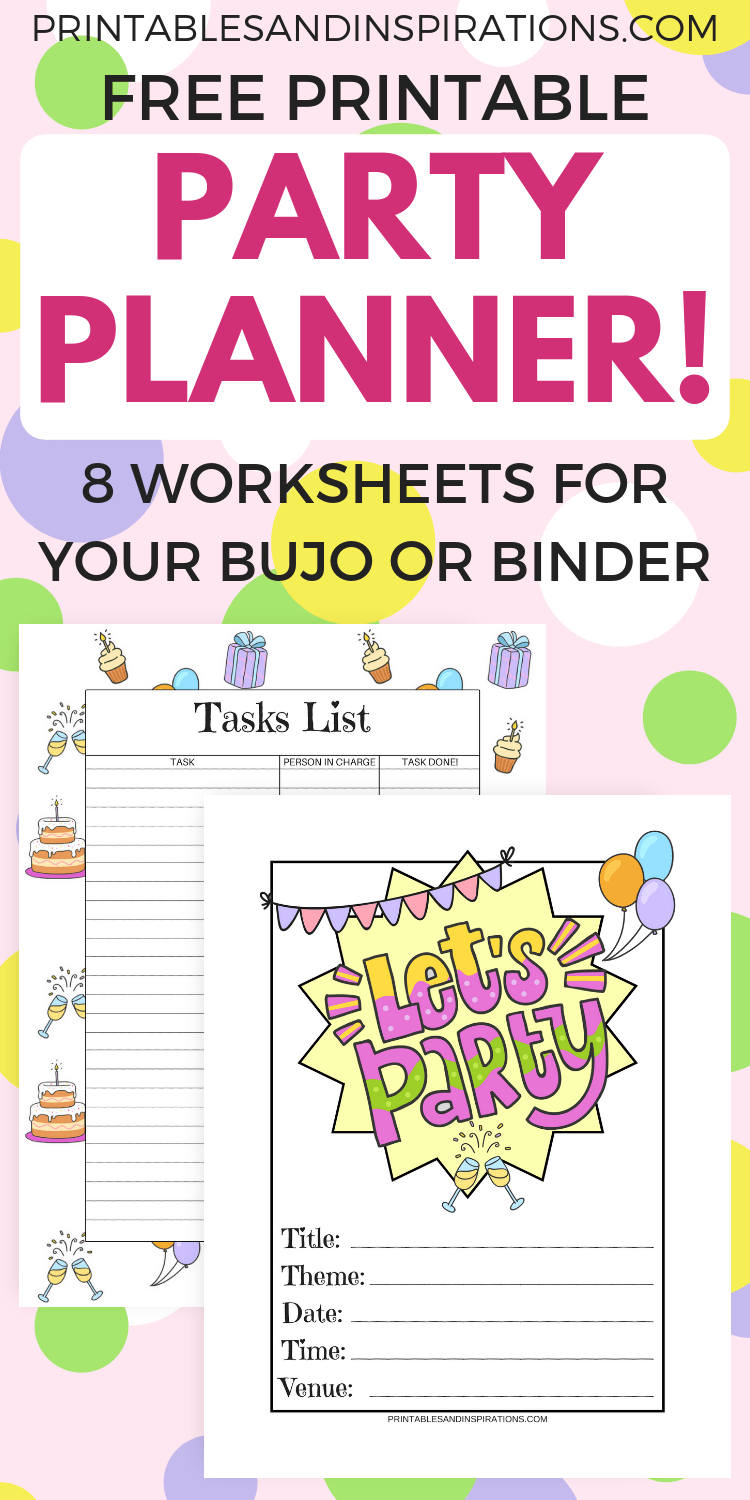 Free party planner for your happy birthday party and other party ideas. Free printable pages for your bullet journal and binder. #freeprintable #partyideas