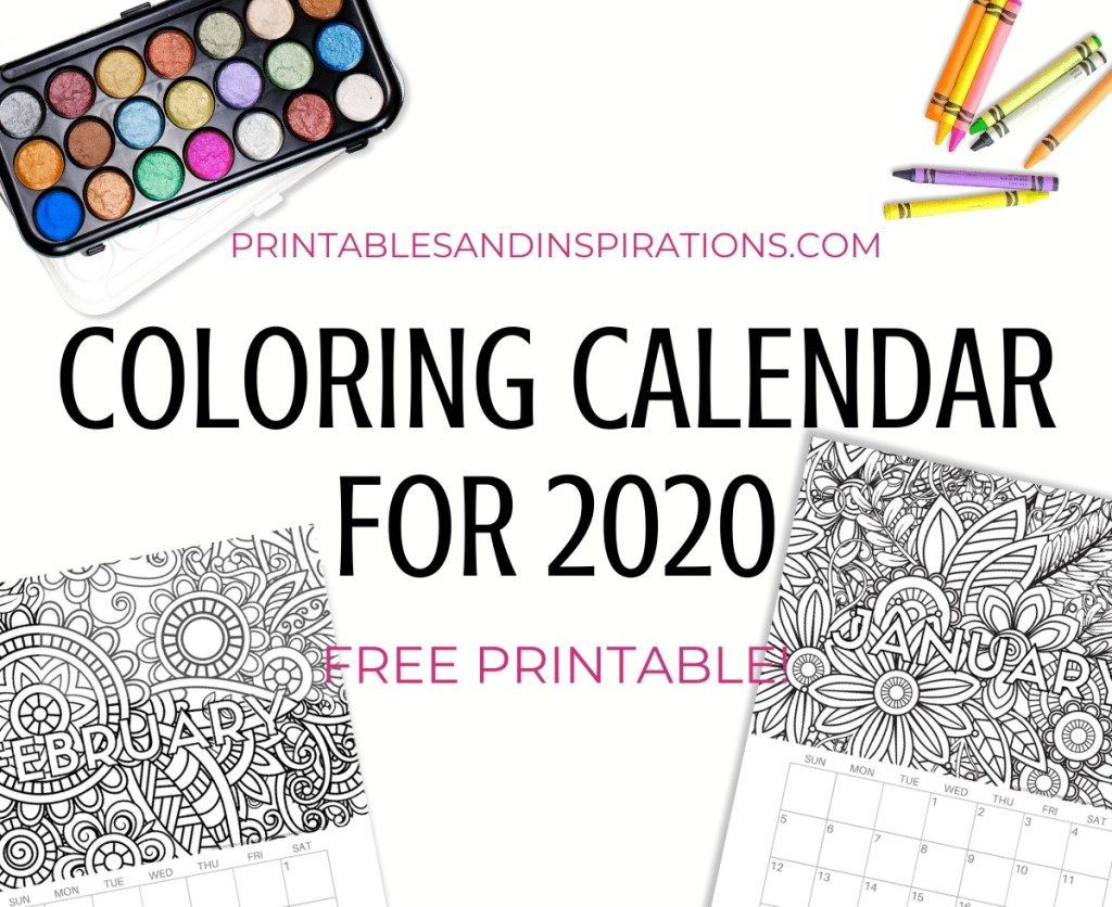 Free Printable 2020 Coloring Calendar - Get this free printable 2020 monthly calendar planner and add your favorite colors. Download now! #freeprintable #printablesandinspirations