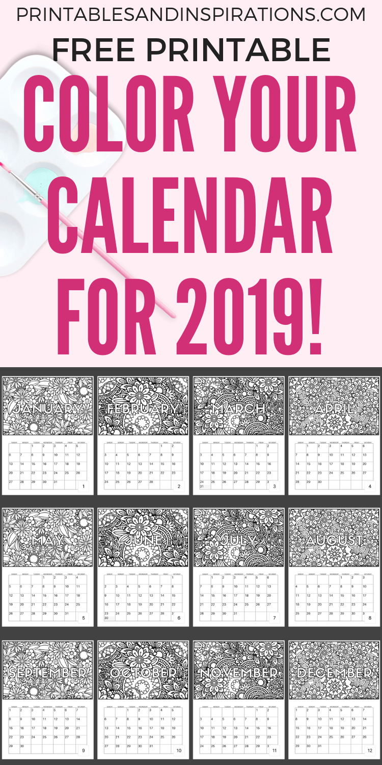 Free Calendar Coloring Pages For 2019! - Printables and Inspirations