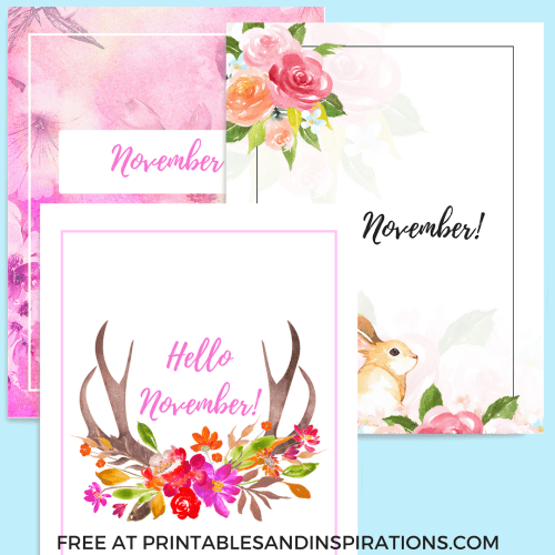 Free November Bullet Journal Cover / Binder Cover Printables! Use as your bullet journal monthly theme or monthly divider. Download now for free! #freeprintable #bulletjournal #bujoideas #printablesandinspirations