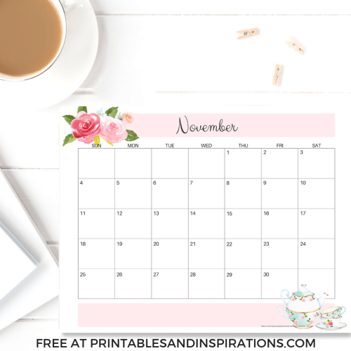 Your Free Printable November 2018 Calendar Is Here! Choose your November monthly planner and have an awesome month. #freeprintable #printablesandinspirations