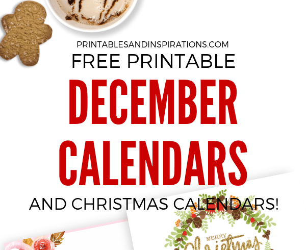 Your December 2018 Calendar Is Here! Get your free printable calendar for the month of December and start planning an awesome month. Free download now! #freeprintable #printablesandinspirations #Christmas