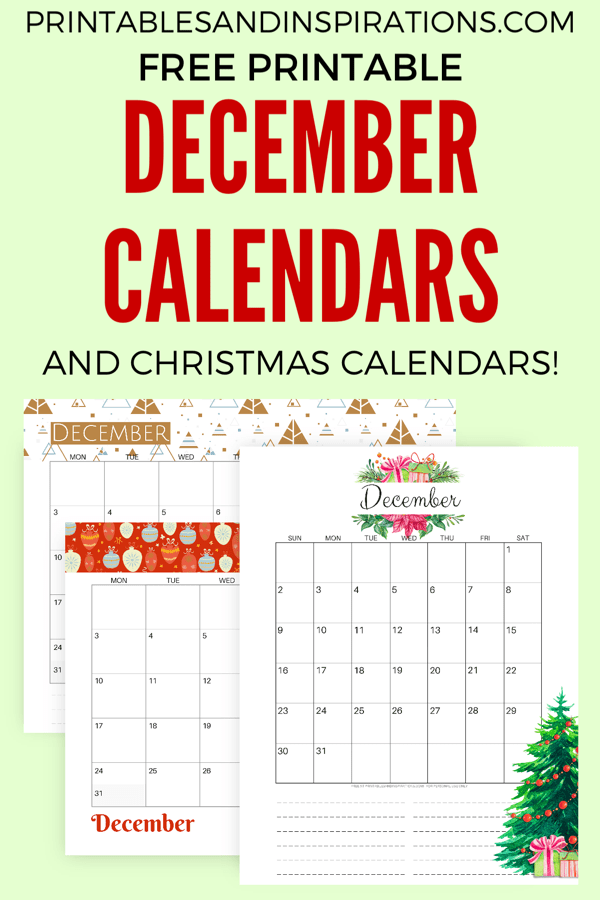 Free December 2018 Calendar Printable! Get your free printable calendar for the month of December and start planning an awesome month. Free download now! #freeprintable #printablesandinspirations #Christmas