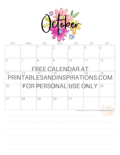 October 2019 Calendar Free Printable Monthly Planner PDF