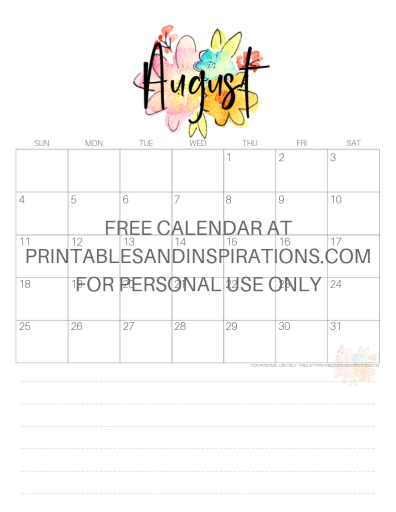 August 2019 Calendar Free Printable Monthly Planner PDF