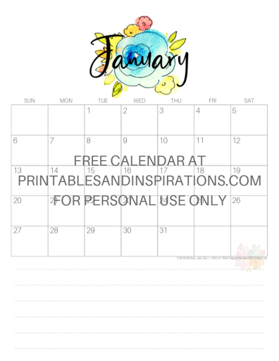 January 2019 Calendar Free Printable Monthly Planner PDF