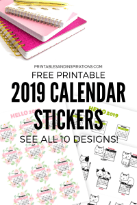 Free Printable 2019 Calendar Stickers For Your Planner Or Bullet Journal! Get these free monthly calendars for 2019 and add to your future log or monthly planner. Free download now! #freeprintable #plannerstickers #2019calendar #printablesandinspirations