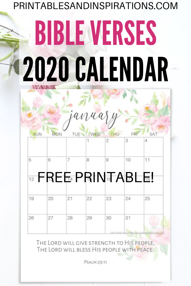 image about Printable Monthly Prayer Calendar titled 2019 2020 Bible Verse Calendar No cost Printable! - Printables