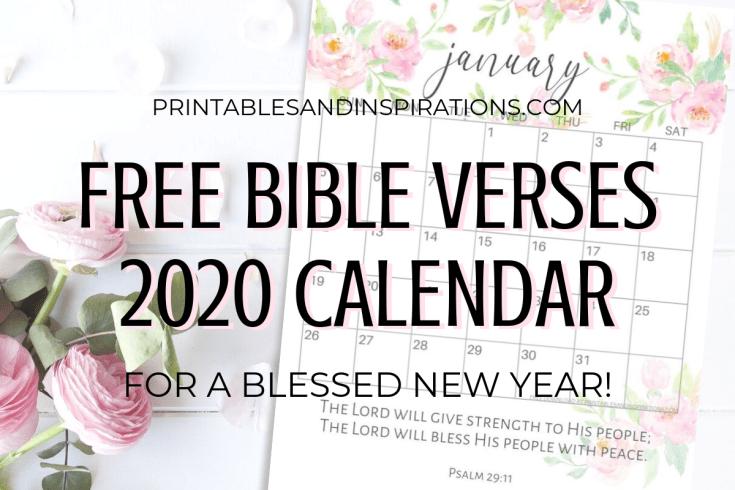 Free Bible Verse Calendar Printable For 2020! Free printable planner with Bible verses. Sunday or Monday calendar version. Free download now! #freeprintable #Bibleverses #printablesandinspirations