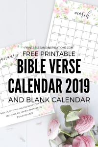 Free Bible Verse Calendar Printable For 2019! Free printable planner with Bible verses, plus monthly calendar template so you can write your favorite quote. Free download now! #freeprintable #Bibleverses #printablesandinspirations