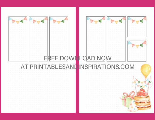 Bullet Journal Birthday Printable Weekly Spread! Free printable weekly planner with birthday theme. #freeprintable #bulletjournal #bujoideas #printablesandinspirations #bujoweekly