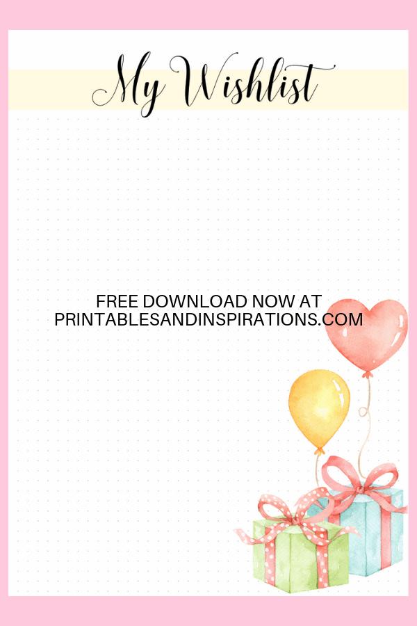 Bullet Journal Wishlist Printable! Free printable wishlist page for your bujo or memo board. #freeprintable #bulletjournal #bujoideas #printablesandinspirations