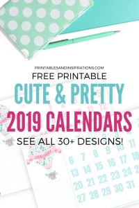 Free Cute Calendars For 2019! Free printable planners with cute monthly labels. See all 30+ monthly calendar designs for bullet journal, planner or binder. #freeprintable #printableplanner #printablesandinspirations