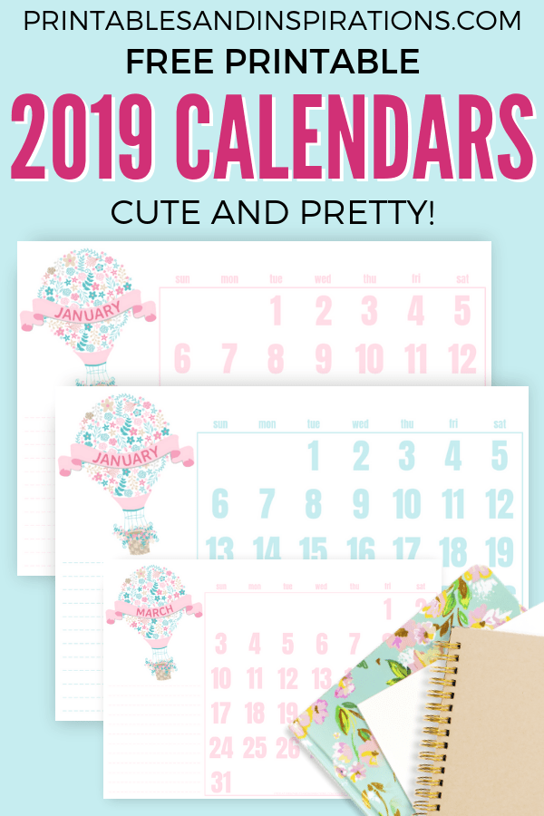 Free Cute Calendars For 2019! Free printable planners with cute monthly labels. Pink and mint calendar for bullet journal or planner binder. #freeprintable #printableplanner #printablesandinspirations