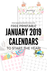 January 2019 Calendar Printable! Get your free printable monthly calendar planner and start planning. Download now! #freeprintable #printablesandinspirations
