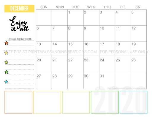 Free Printable December 2020 Calendar PDF #freeprintable #printablesandinspirations #motivationalquotes #stars #reachforthestars
