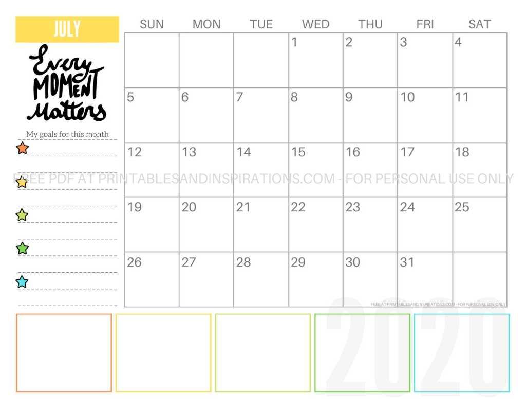 Free Printable July 2020 Calendar PDF #freeprintable #printablesandinspirations #motivationalquotes #stars #reachforthestars