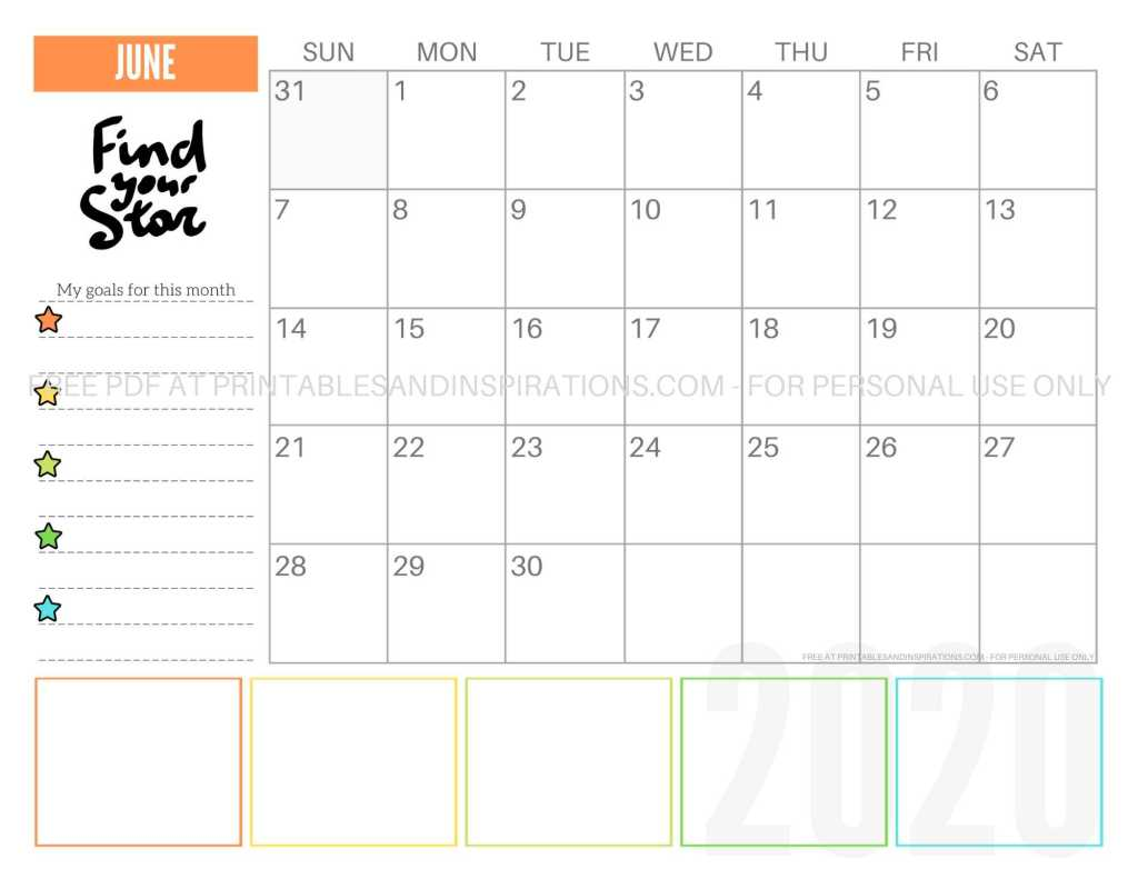 Free Printable June 2020 Calendar PDF #freeprintable #printablesandinspirations #motivationalquotes #stars #reachforthestars