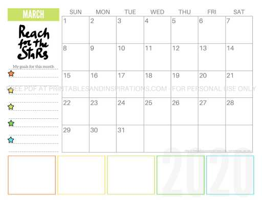 Free Printable March 2020 Calendar PDF #freeprintable #printablesandinspirations #motivationalquotes #stars #reachforthestars