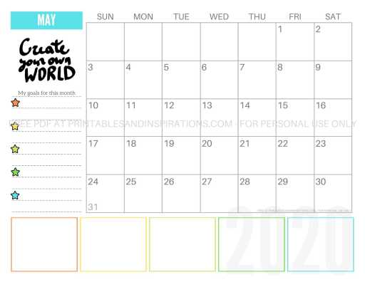 Free Printable May 2020 Calendar PDF #freeprintable #printablesandinspirations #motivationalquotes #stars #reachforthestars