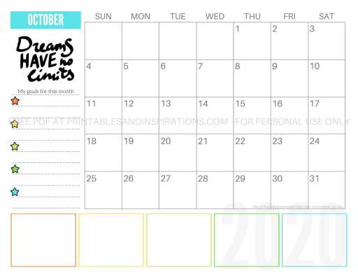 Free Printable October 2020 Calendar PDF #freeprintable #printablesandinspirations #motivationalquotes #stars #reachforthestars