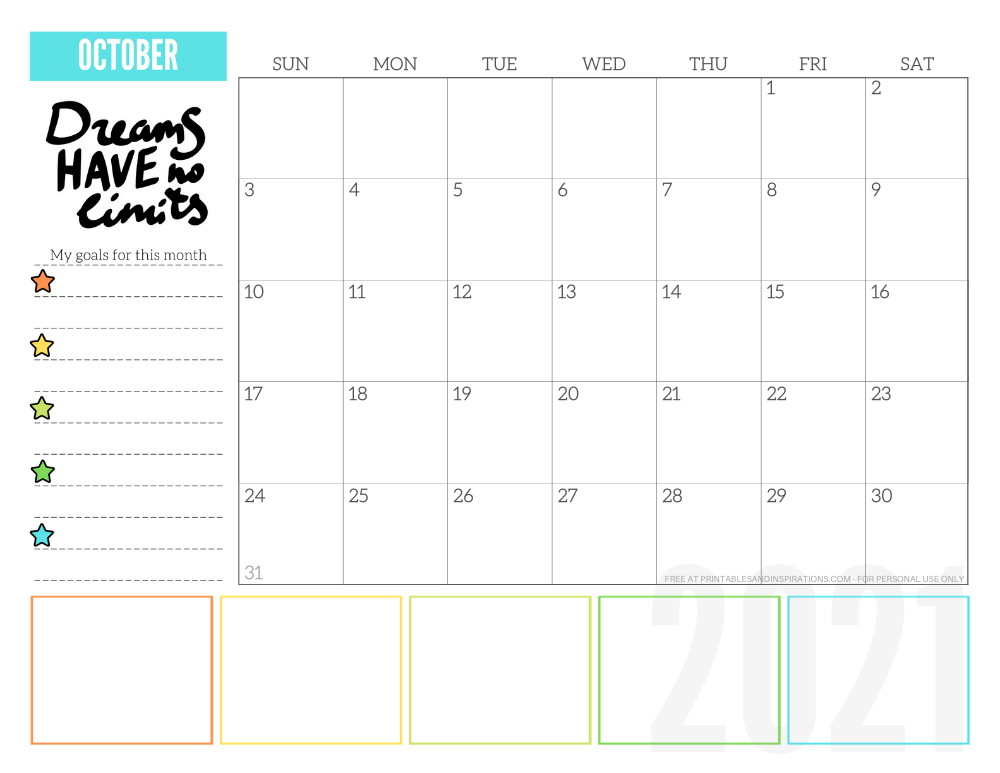 October 2021 goals calendar planner - free printable monthly calendar #printablesandinspirations #freeprintable #goalsetting SEE PREVIOUS POST TO DOWNLOAD THE FREE PDF FILE