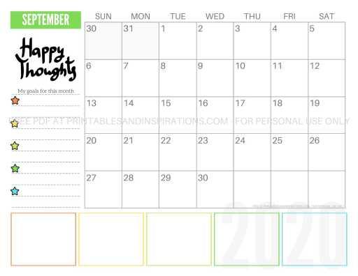 Free Printable September 2020 Calendar PDF #freeprintable #printablesandinspirations #motivationalquotes #stars #reachforthestars