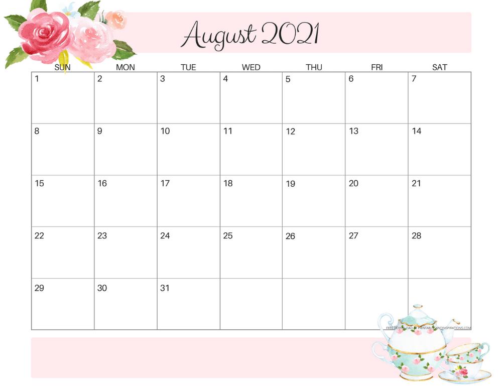August 2021 calendar floral -free printable PDF #printablesandinspirations