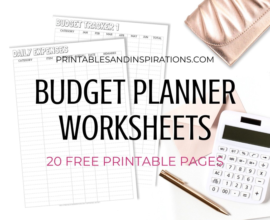Free Printable Budget Planner Worksheets - 20 pages for your budget binder or bullet journal. #bulletjournal #freeprintable #billstracker #expensetracker #budgettracker #budgetplanner #diyplanner #printablesandinspirations