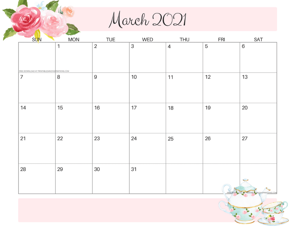 2020 2021 Free Printable Pretty Floral Calendar Printables And Inspirations