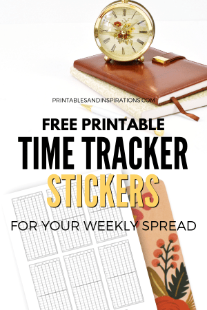 Free Printable Time Tracker For Your Bullet Journal! Printable planner stickers for your weekly spread. Use as a habit tracker, activity tracker, or sleep tracker. Free download now! #bulletjournal #bujoideas #habittracker #freeprintable #plannerstickers #printablesandinspirations