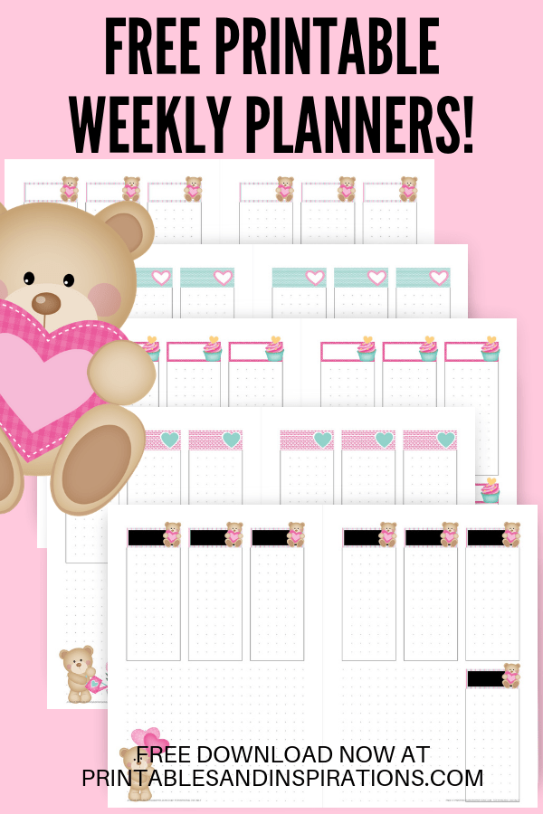 Free Weekly Planners -Cute bears valentine theme! Bullet journal printables with monthly covers, calendar spread, weekly planners and dotted grid paper. Free printable planner pages! #bulletjournal #bujo #bujoideas #bujomonthly #weeklyspread #printableplanner #freeprintable #printablesandinspirations