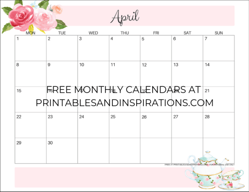 Your Free Printable April 2019 Calendar! - Printables and Inspirations