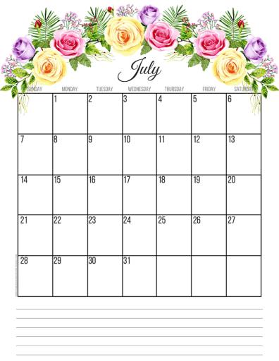 July 2019 calendar printable monthly planner, free printable floral calendar #freeprintable #printablesandinspirations