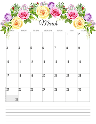 March 2019 calendar printable monthly planner, free printable floral calendar #freeprintable #printablesandinspirations