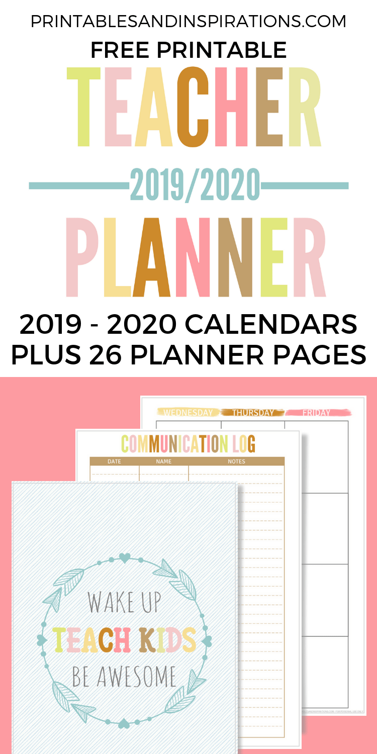 graphic regarding Free Printable Teacher Planner referred to as Cost-free Trainer Planner Printable 2019 - 2020 - Printables and