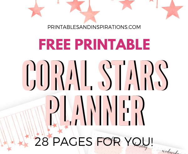 Free 2019 Color Of The Year Inspired Planner! Printable coral planner pages for your binder or bullet journal, monthly cover, monthly calendar, weekly planner and dot grid paper. free download now! #coloroftheyear #coral #printableplanner #freeprintable #printablesandinspirations