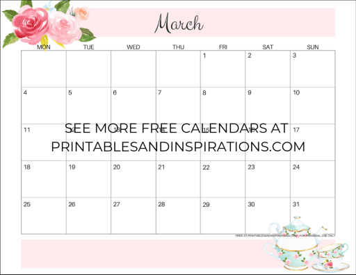 Free March 2019 Calendar Printable - get your March 2019 monthly planner, Sunday / Monday start calendars, and check out more 2019 calendars. #freeprintable #printablesandinspirations #printableplanner #organize
