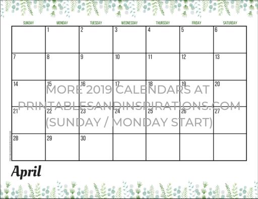 April 2019 calendar free printable monthly planner