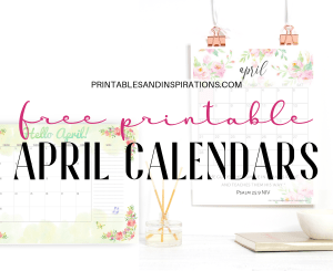 April 2019 Calendar Free Printable Planner with floral designs, Sunday or Monday start, #freeprintable #printablesandinspirations